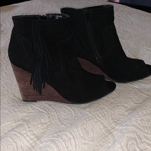 Black Women's Leather Open Toe Booties. Size 9